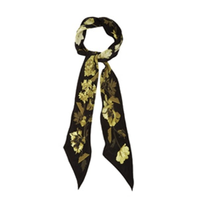Flora Print Super Skinny Silk Scarf