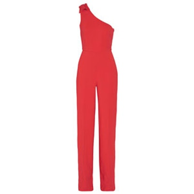 Ava One-Shoulder Stretch-Crepe Jumpsuit