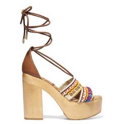 Embellished Canvas Platform Sandals