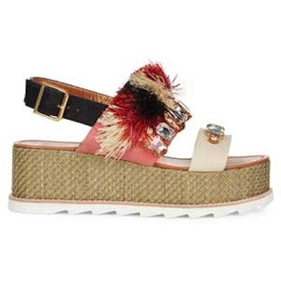 Multi Raffia Flatform Maarit Sandals