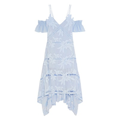 Off The Shoulder Embroidered Georgette Dress
