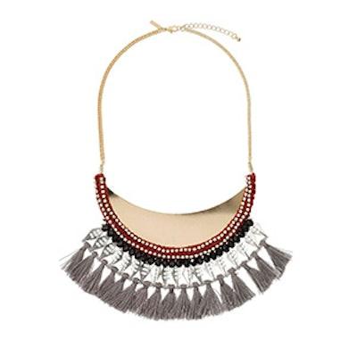 Rhinestone & Tassel Collar Necklace