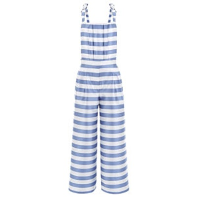 Blue Satin Twill Striped Jumpsuit