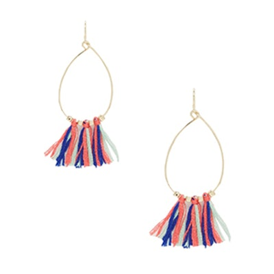 Fine Bead Rainbow Tassel Earrings