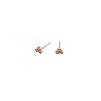 3 Diamond Cluster Stud Earrings