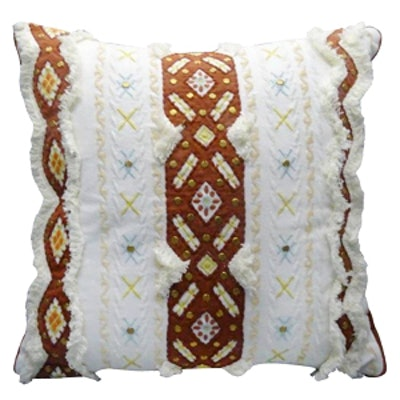 Embroidered Pillow White/Rust