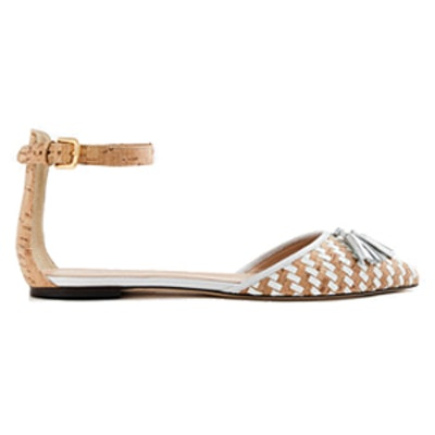 Woven Cork Flats With Ankle Strap