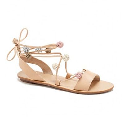 Saskia Pom-Pom Leather Ankle-Tie Sandals