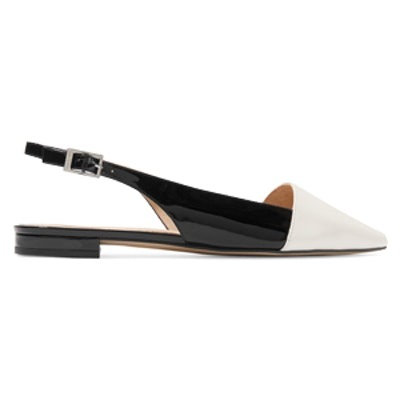 Claudia Two-Tone Leather Point-Toe Flats