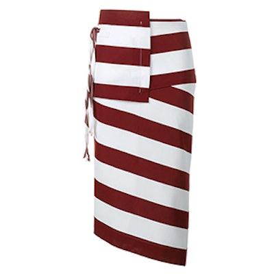 Striped Asymmetric Pencil Skirt