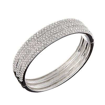 Triple-Row Crystal Bangle Bracelet