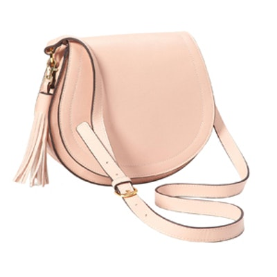 Faux-Leather Tassel Saddle Purse in Light Pink