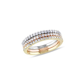 Tricolor Pave Diamond Stacking Ring Set