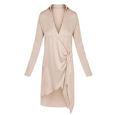 Shaylene Tie Side Satin Shirt Dress