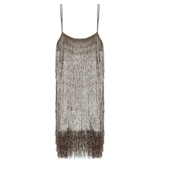 Della Metallic Fringed Mini Dress