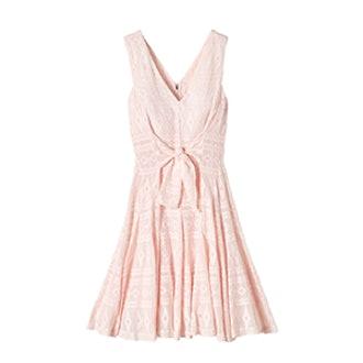 Sleeveless Embroidered Gauze Dress