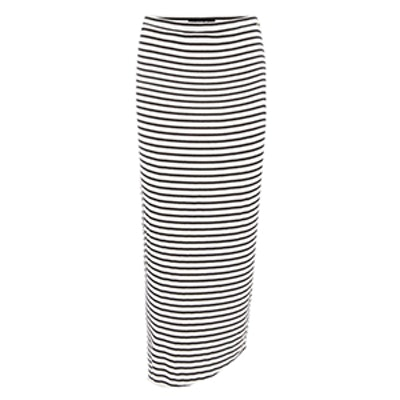 Long Fitted Striped Skirt