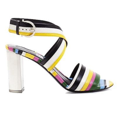 Gilli Rainbow Stripe Block Heel Sandals