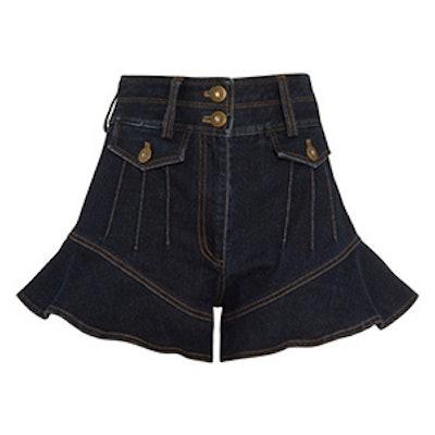 Flounced Denim Shorts