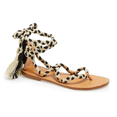 Wraparound Tassel Tie Flat Sandal