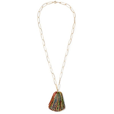 Gold-Plated Tassel Charm Necklace