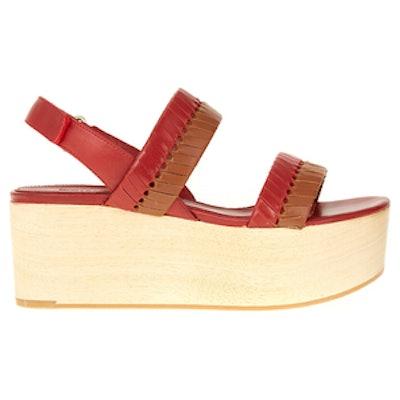 Eden Woven Leather Wooden Flatform Sandals