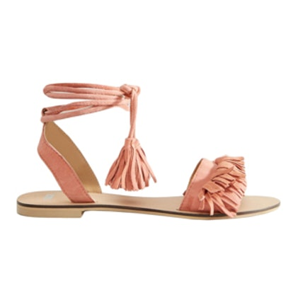 Flashy Suede Tie Leg Fringe Sandals