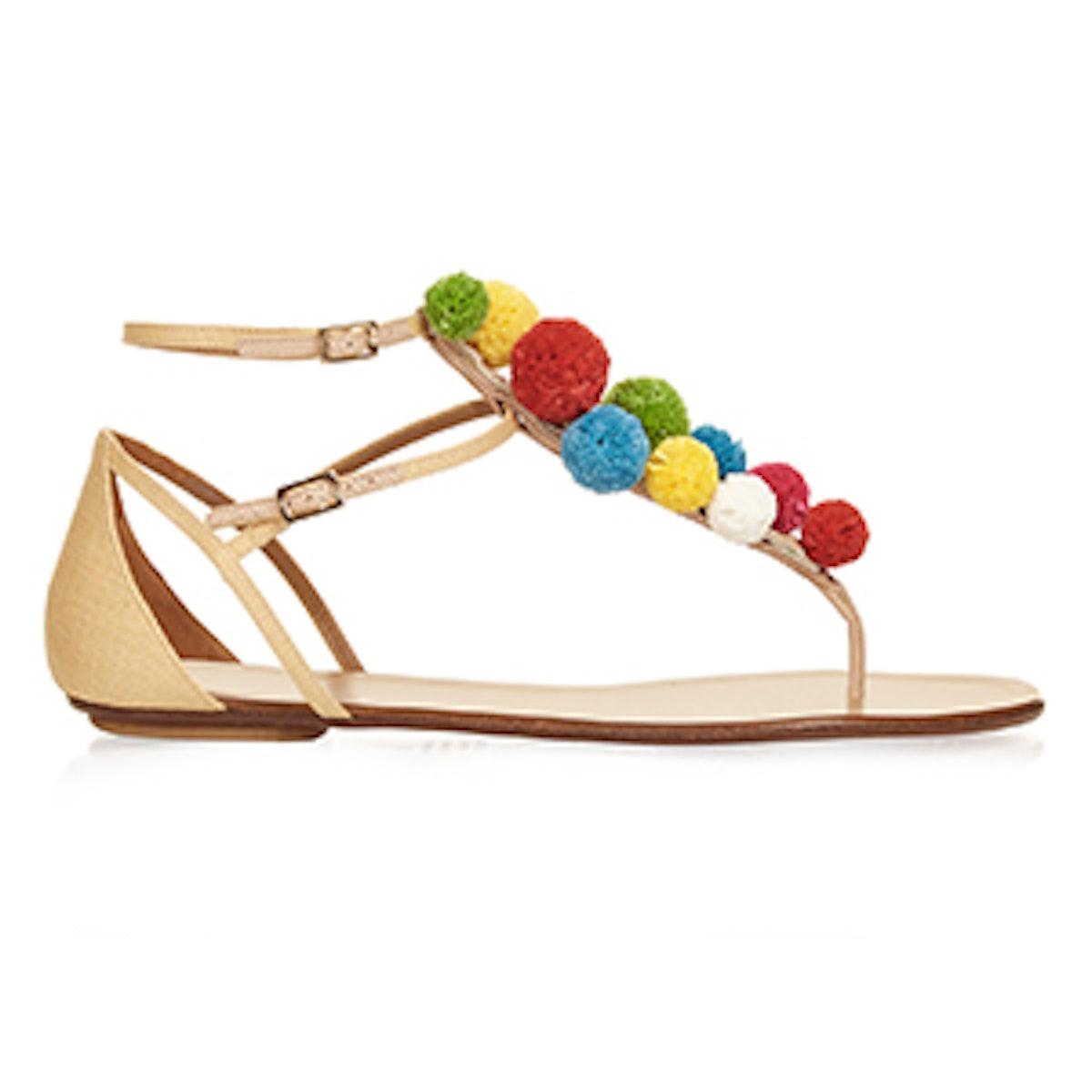 Raffia Pon Pon Flat Sandals