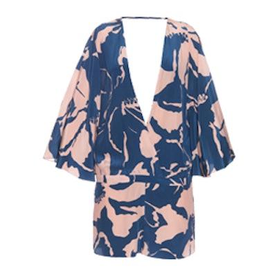 Balinese-Print Silk Playsuit