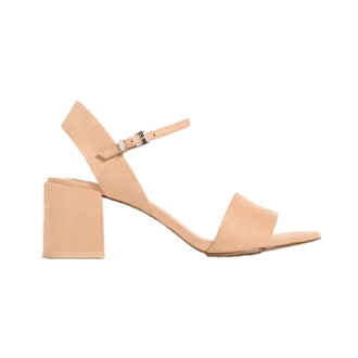 Block Heel Sandals With Ankle Strap