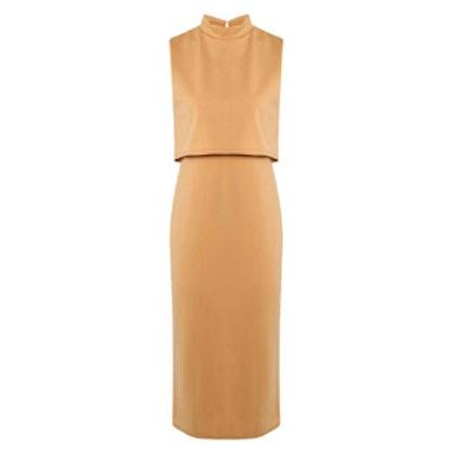 Leah High Neck Double Layer Midi Dress
