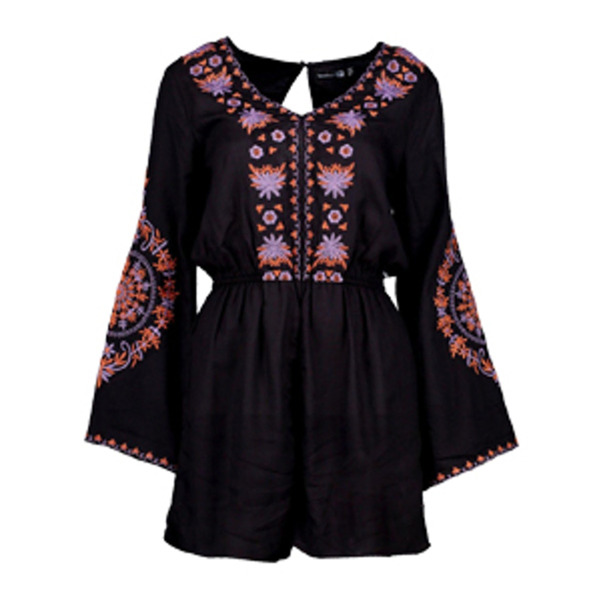 Boutique Anna Embroidered Flute Sleeve Playsuit