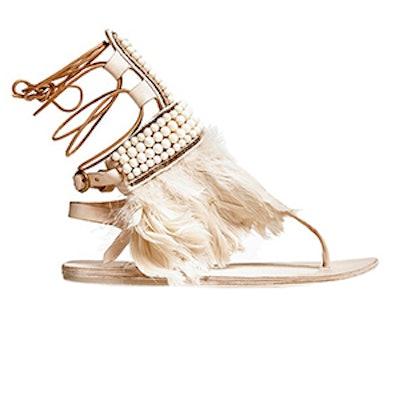 Beaded Feather Sandal