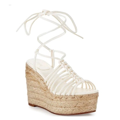 Caged Leather Espadrille Wedge Sandal
