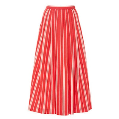 Linen Stripe Gathered Skirt