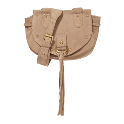 Collins Small Suede and Textured-Leather Shoulder Bag