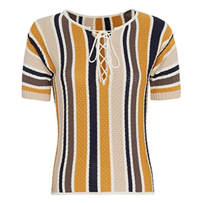 Lace-Up Striped Knit