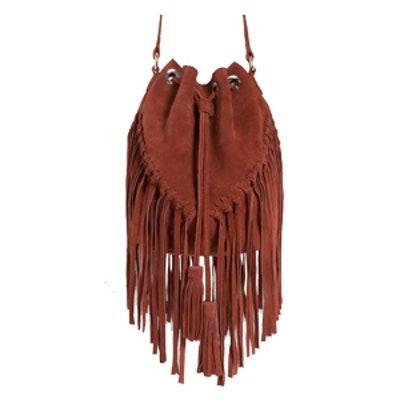 Fringed Leather Bucket Bag