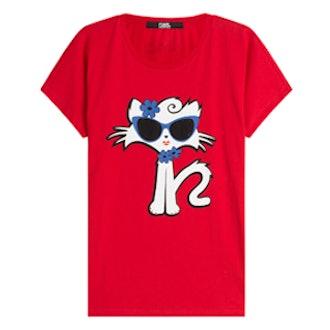 Choupette On The Beach Cotton T-Shirt