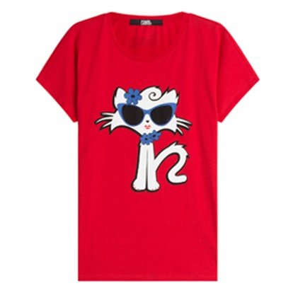 Choupette On The Beach Cotton T-Shirt
