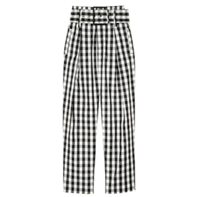 High-Waisted Belted Cropped Trousers