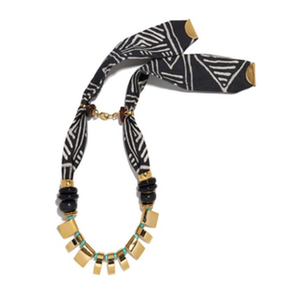 Mud Cloth and Turquoise Necklace