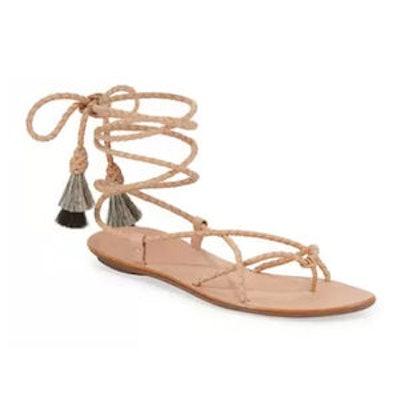 Braided Lace-Up Tassel Flat Sandal
