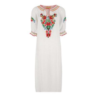 White Floral Embroidered Eva Dress