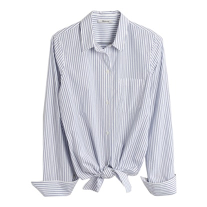 Tie-Front Shirt In Bookend Stripe