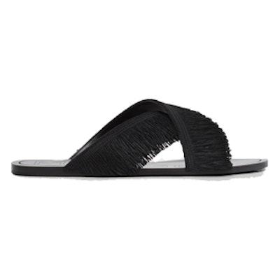 Fringed Cross Strap Sandals