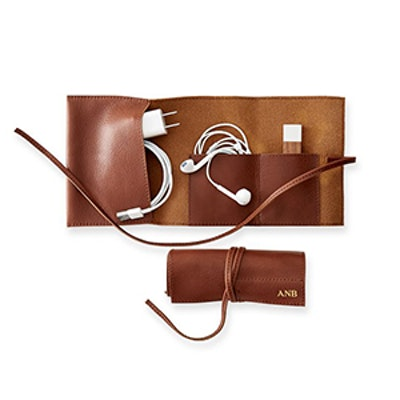 Monogrammed Leather Charger Travel Case