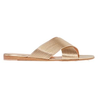 Metallic Leather Slides