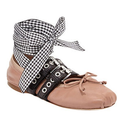 Belted Leather Ankle Wrap Flat