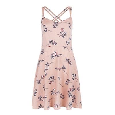 Pink Rose Floral Print Strappy Dress